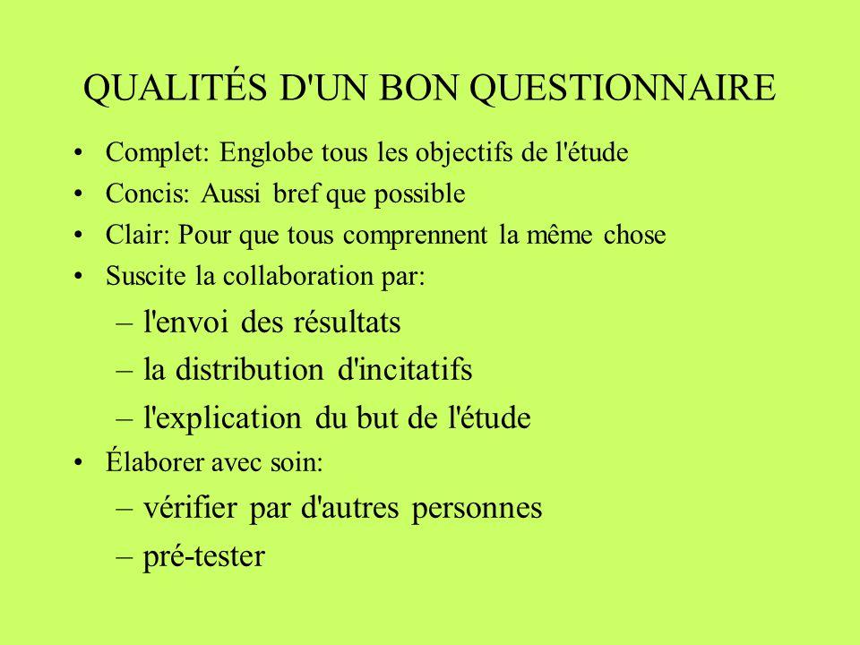QUALITÉS D UN BON QUESTIONNAIRE