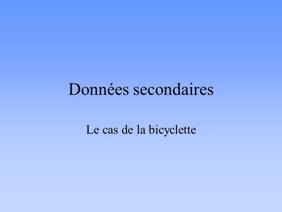 Données secondaires Le cas de la bicyclette