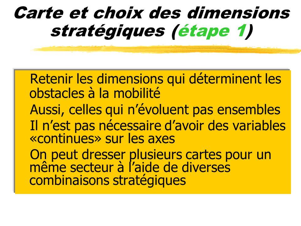 Carte et choix des dimensions stratégiques (étape 1)