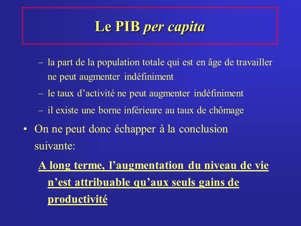 Le PIB per capita On ne peut donc échapper à la conclusion suivante:
