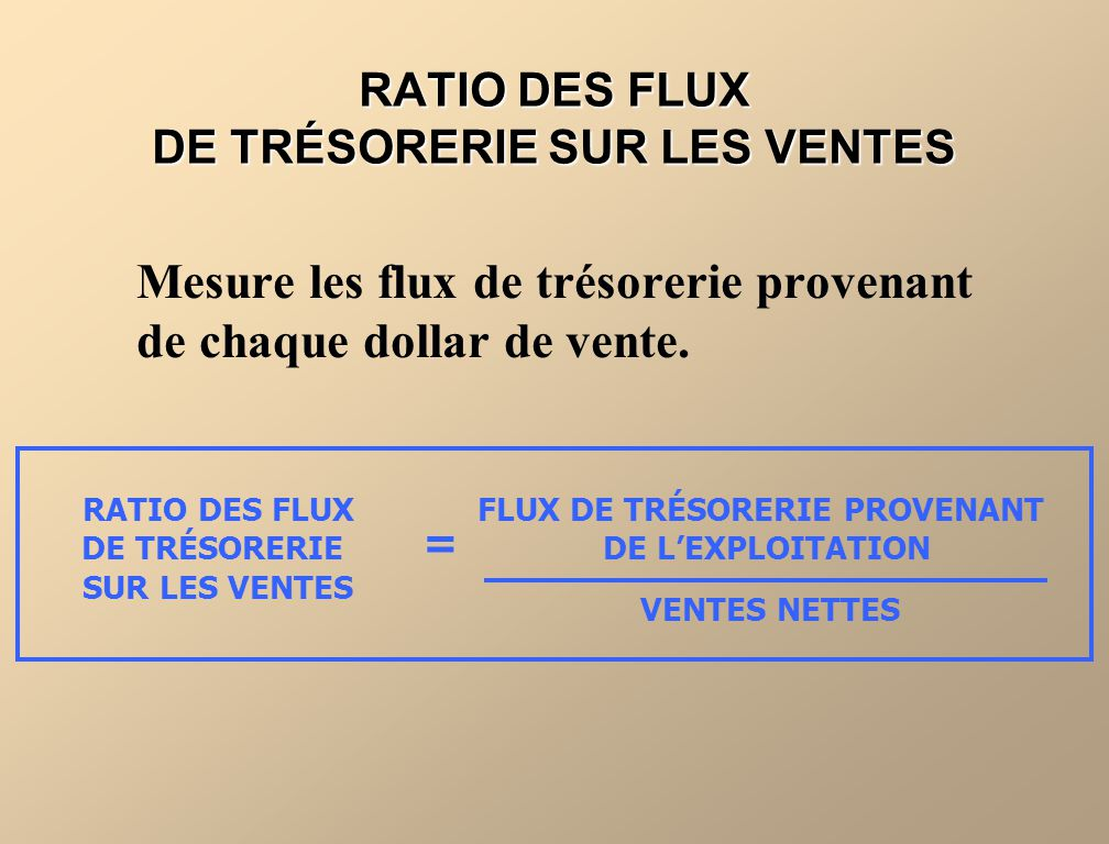 RATIO DES FLUX DE TRÉSORERIE SUR LES VENTES