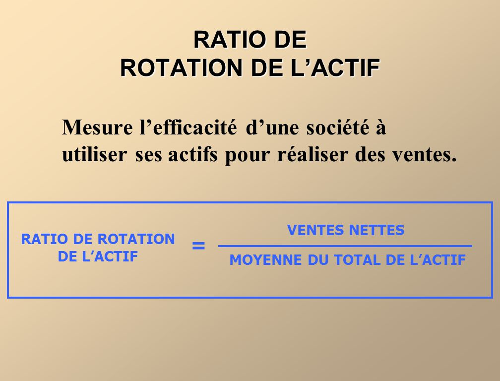RATIO DE ROTATION DE L'ACTIF