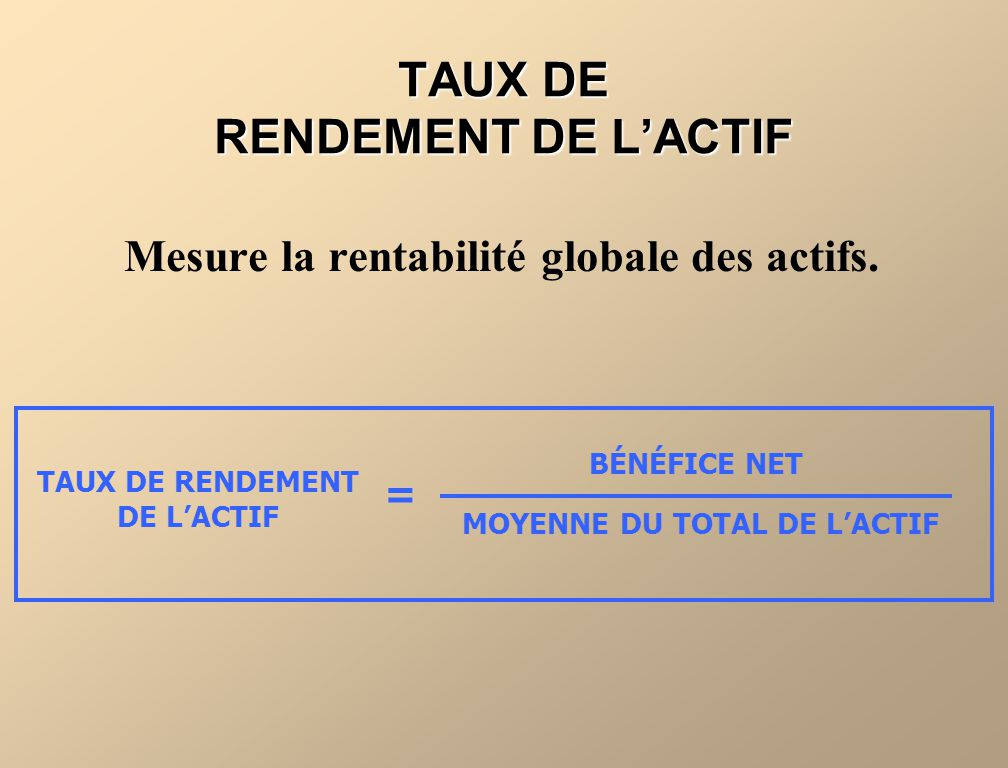 TAUX DE RENDEMENT DE L'ACTIF