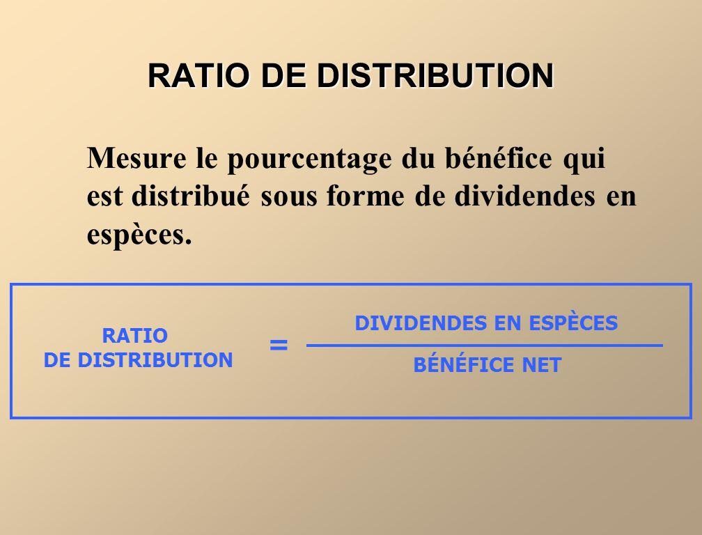 PowerPoint Slides RATIO DE DISTRIBUTION. Mesure le pourcentage du bénéfice qui est distribué sous forme de dividendes en espèces.
