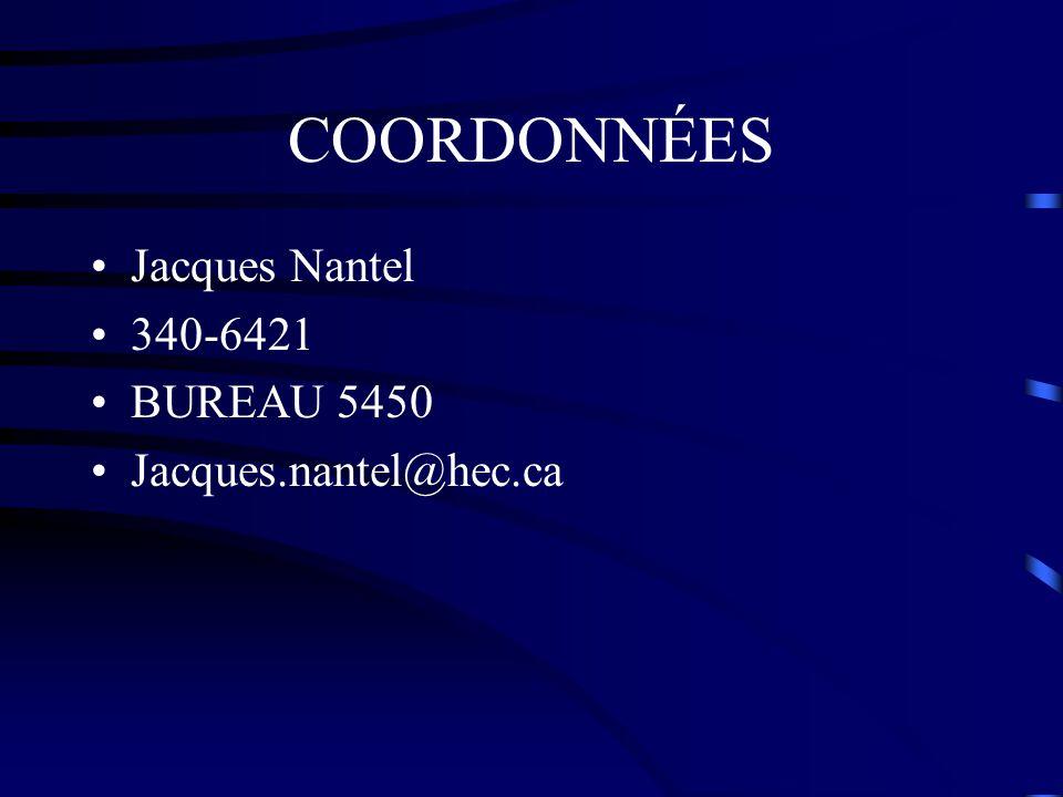 COORDONNÉES Jacques Nantel 340-6421 BUREAU 5450 Jacques.nantel@hec.ca
