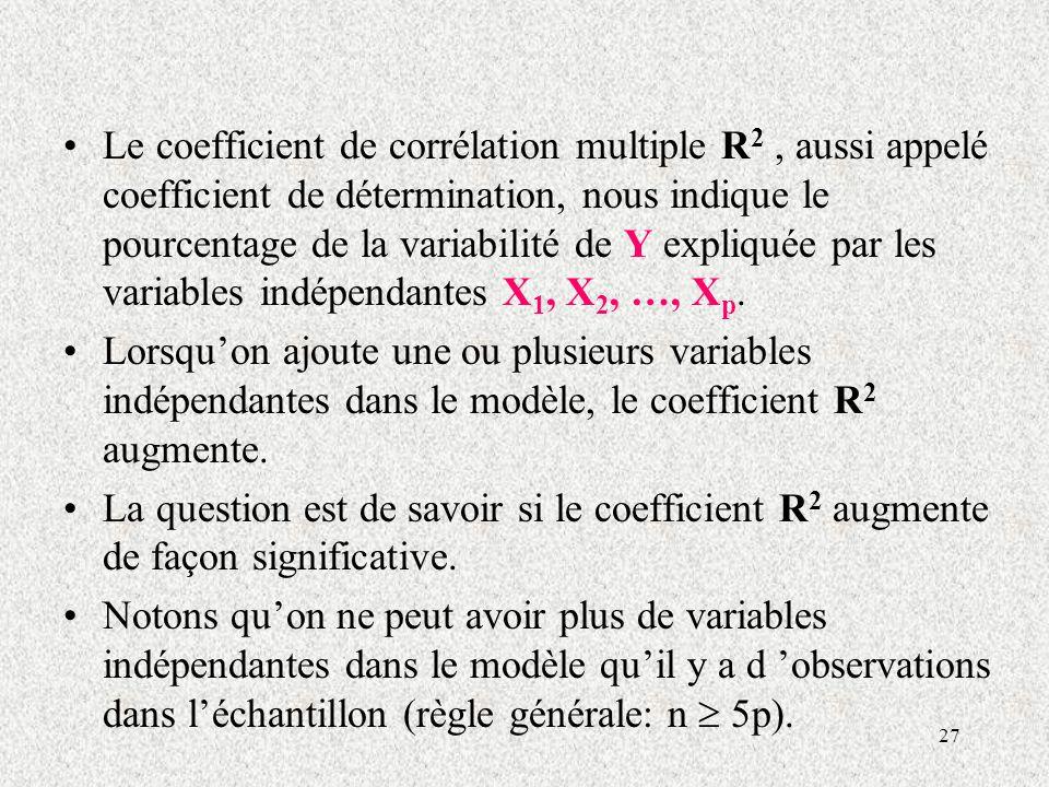 Le coefficient de corrélation multiple R2 , aussi appelé coefficient de détermination, nous indique le pourcentage de la variabilité de Y expliquée par les variables indépendantes X1, X2, …, Xp.