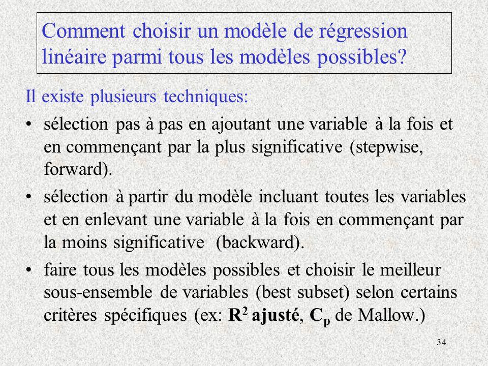 Comment choisir un modèle de régression linéaire parmi tous les modèles possibles