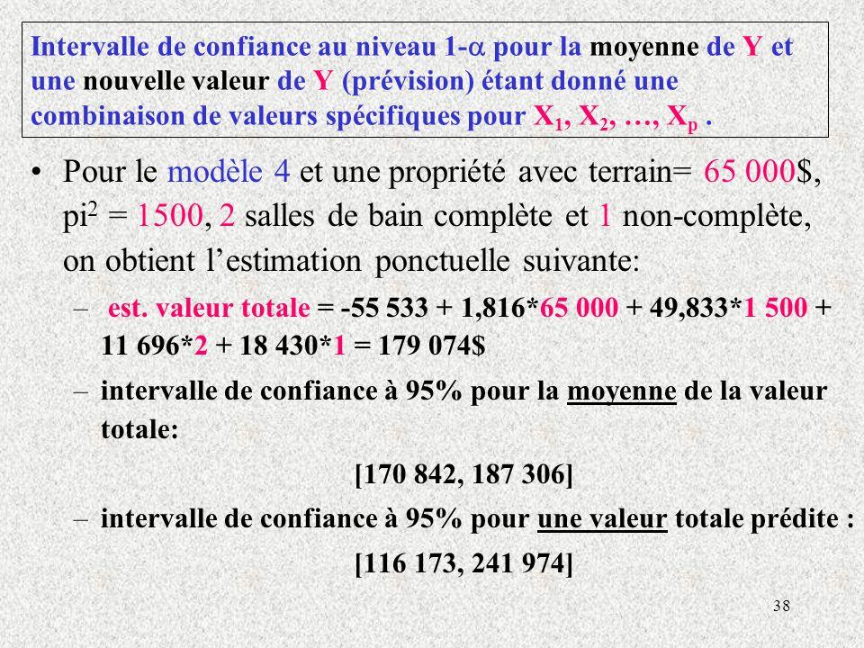 Intervalle de confiance au niveau 1- pour la moyenne de Y et une nouvelle valeur de Y (prévision) étant donné une combinaison de valeurs spécifiques pour X1, X2, …, Xp .
