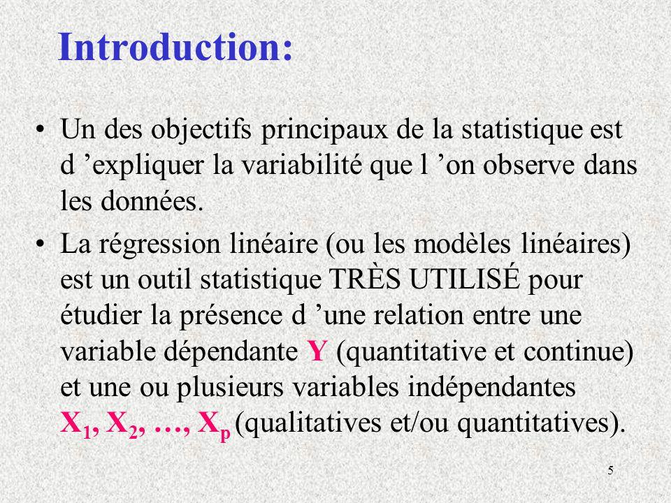 Introduction: Un des objectifs principaux de la statistique est d 'expliquer la variabilité que l 'on observe dans les données.