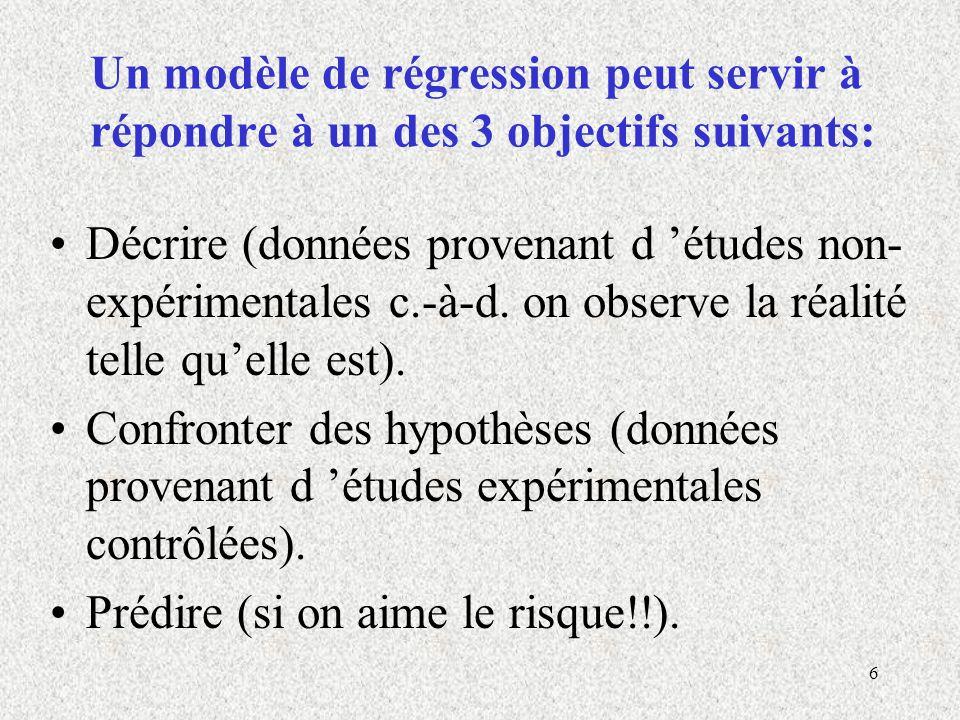 Un modèle de régression peut servir à répondre à un des 3 objectifs suivants: