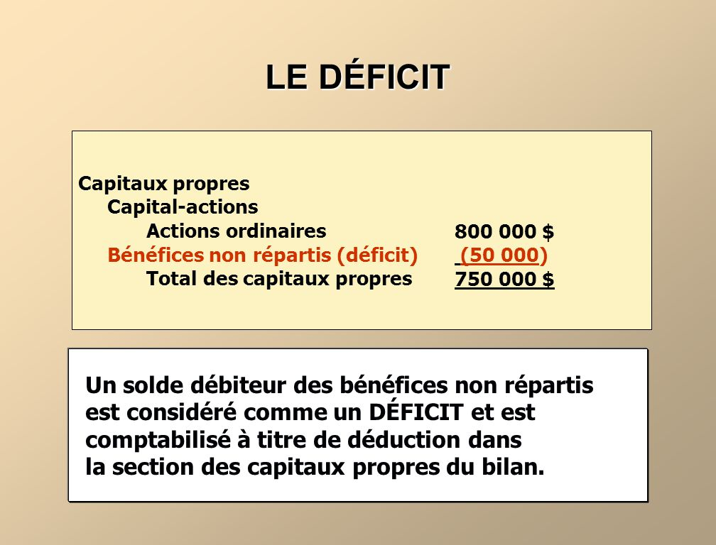 LE DÉFICIT Capitaux propres. Capital-actions. Actions ordinaires. Bénéfices non répartis (déficit)