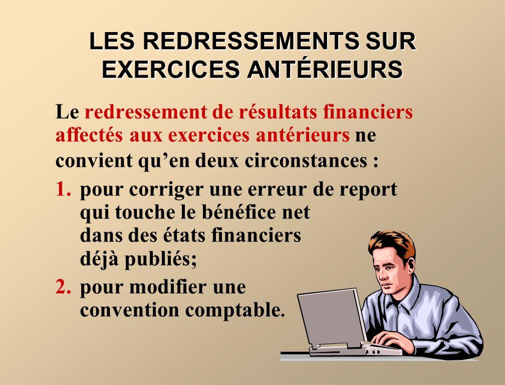 LES REDRESSEMENTS SUR EXERCICES ANTÉRIEURS