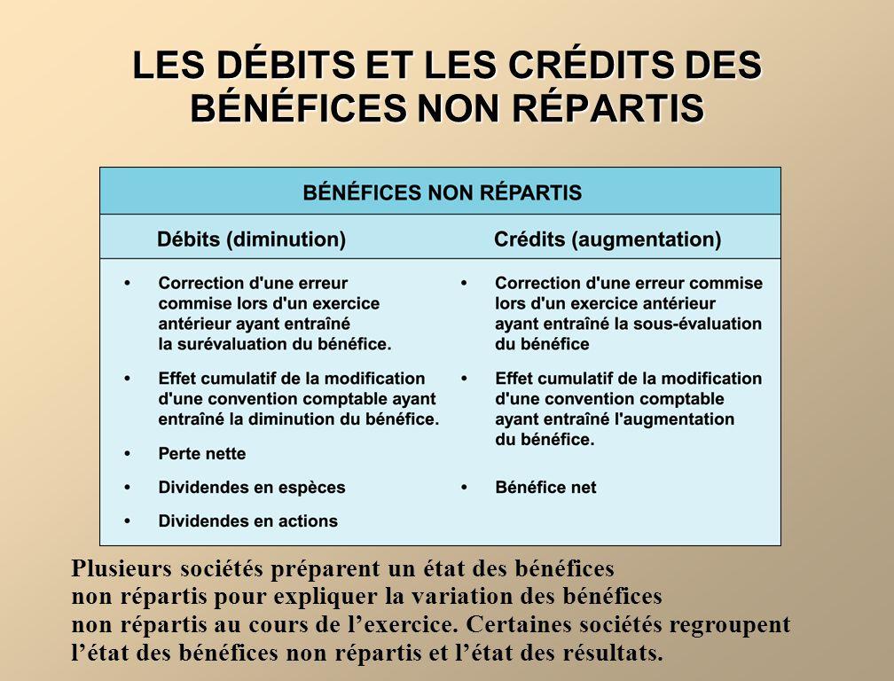 LES DÉBITS ET LES CRÉDITS DES BÉNÉFICES NON RÉPARTIS