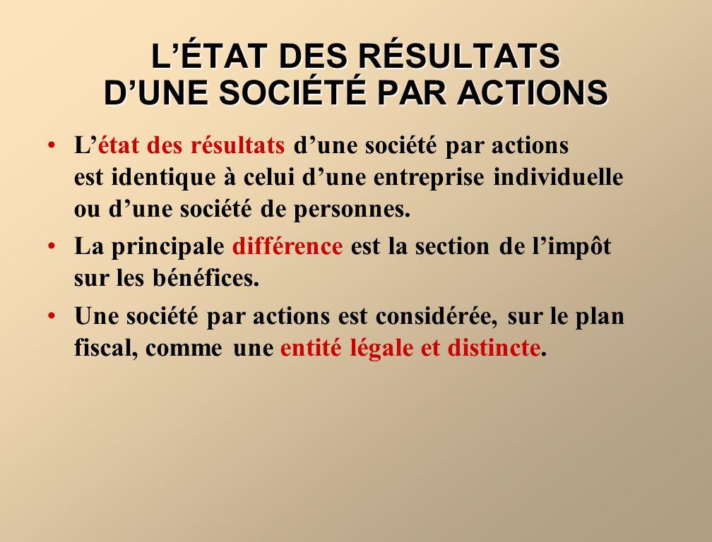 L'ÉTAT DES RÉSULTATS D'UNE SOCIÉTÉ PAR ACTIONS