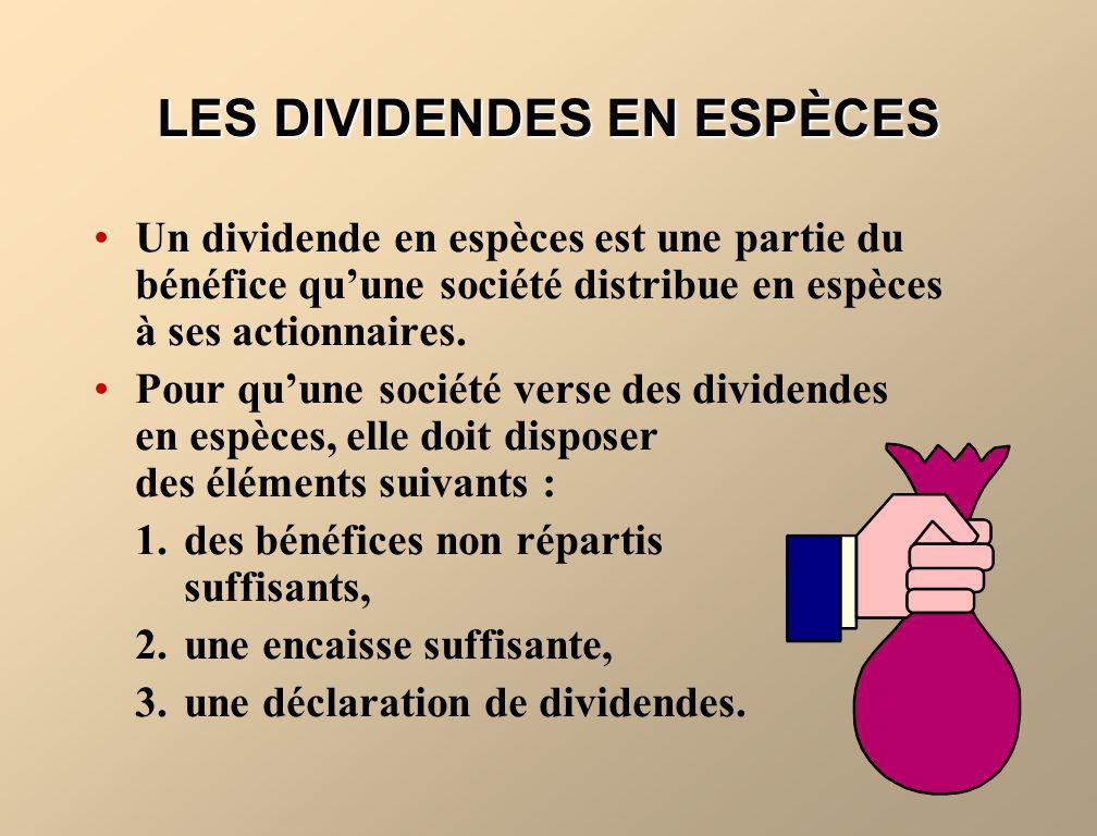 LES DIVIDENDES EN ESPÈCES