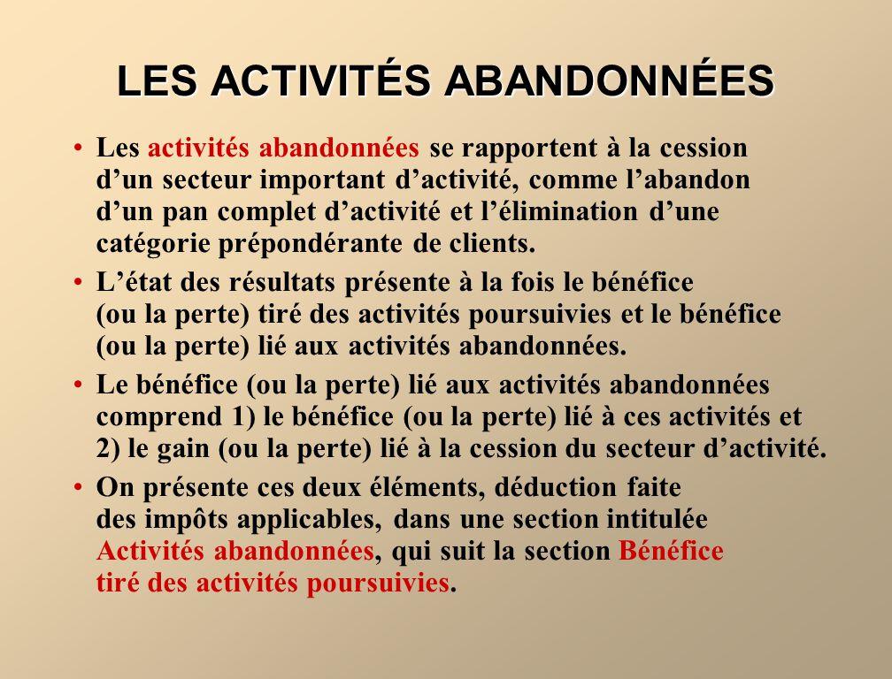 LES ACTIVITÉS ABANDONNÉES