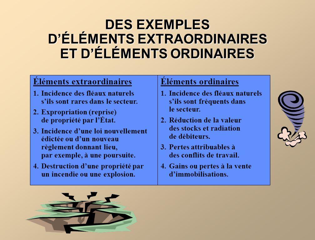 DES EXEMPLES D'ÉLÉMENTS EXTRAORDINAIRES ET D'ÉLÉMENTS ORDINAIRES