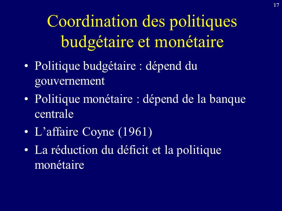 Coordination des politiques budgétaire et monétaire