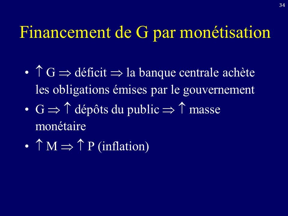 Financement de G par monétisation