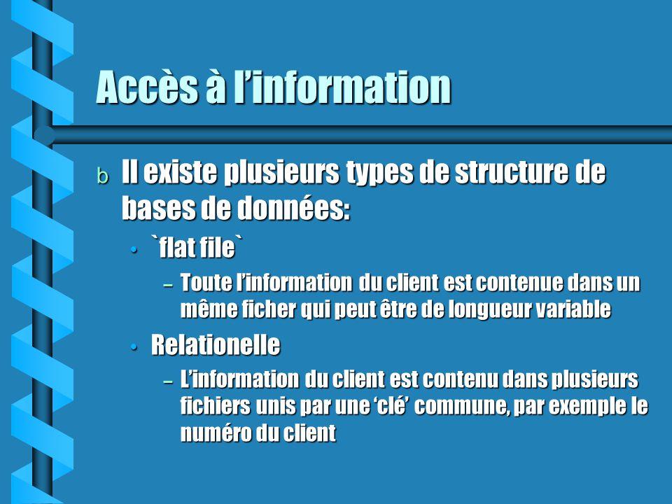 Accès à l'information Il existe plusieurs types de structure de bases de données: `flat file`