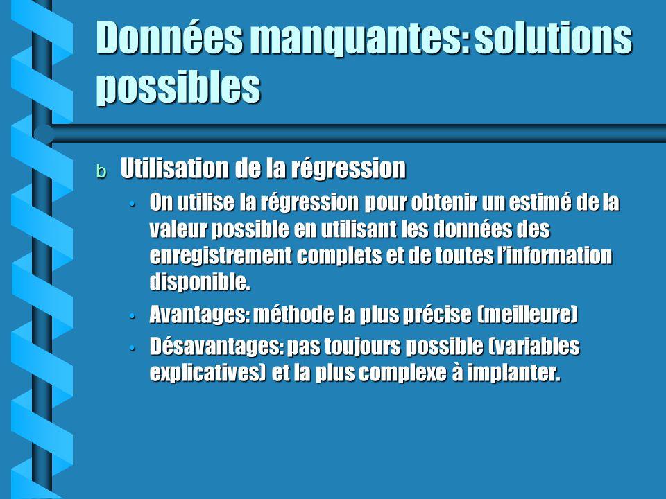 Données manquantes: solutions possibles