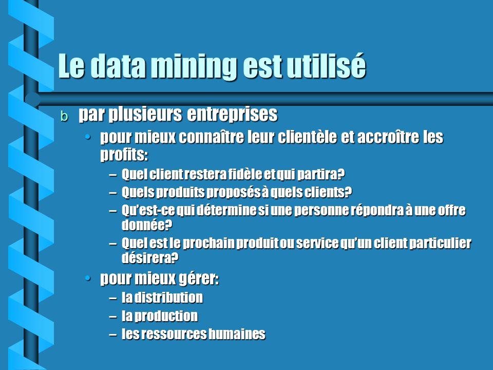 Le data mining est utilisé