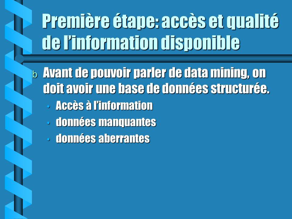 Première étape: accès et qualité de l'information disponible