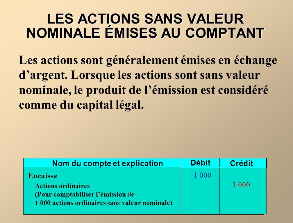 LES ACTIONS SANS VALEUR NOMINALE ÉMISES AU COMPTANT