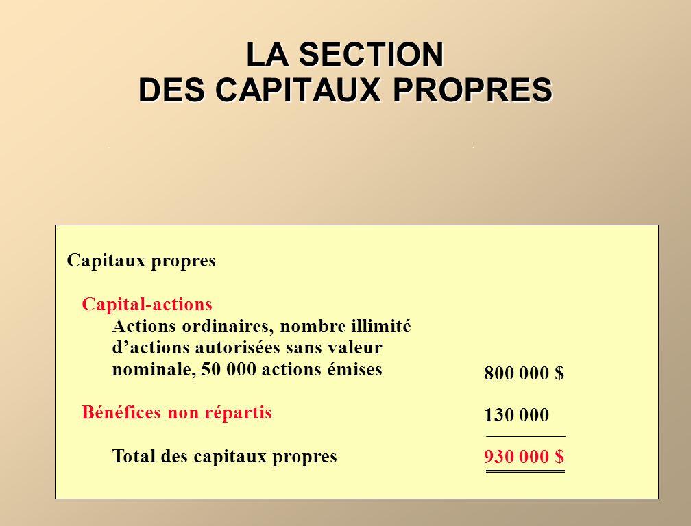 LA SECTION DES CAPITAUX PROPRES