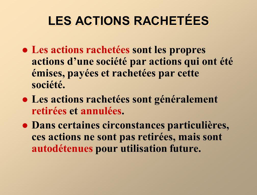 LES ACTIONS RACHETÉES
