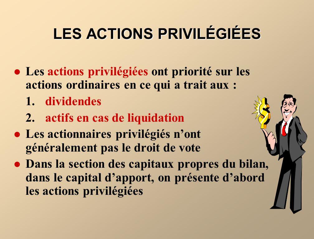 LES ACTIONS PRIVILÉGIÉES