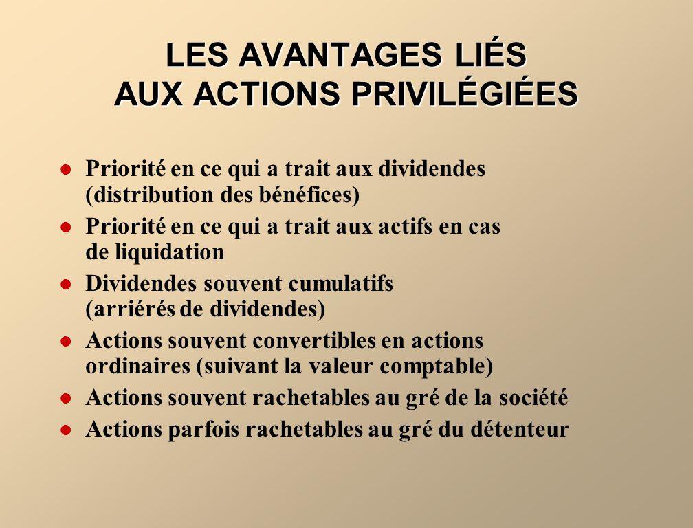 LES AVANTAGES LIÉS AUX ACTIONS PRIVILÉGIÉES