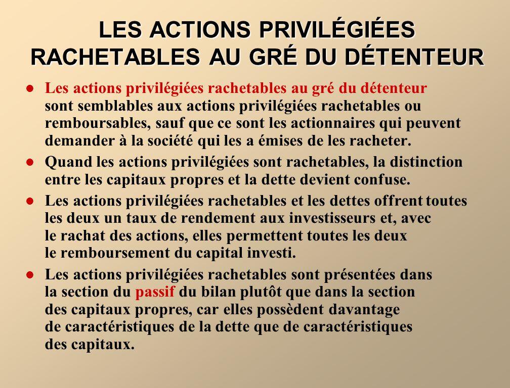 LES ACTIONS PRIVILÉGIÉES RACHETABLES AU GRÉ DU DÉTENTEUR