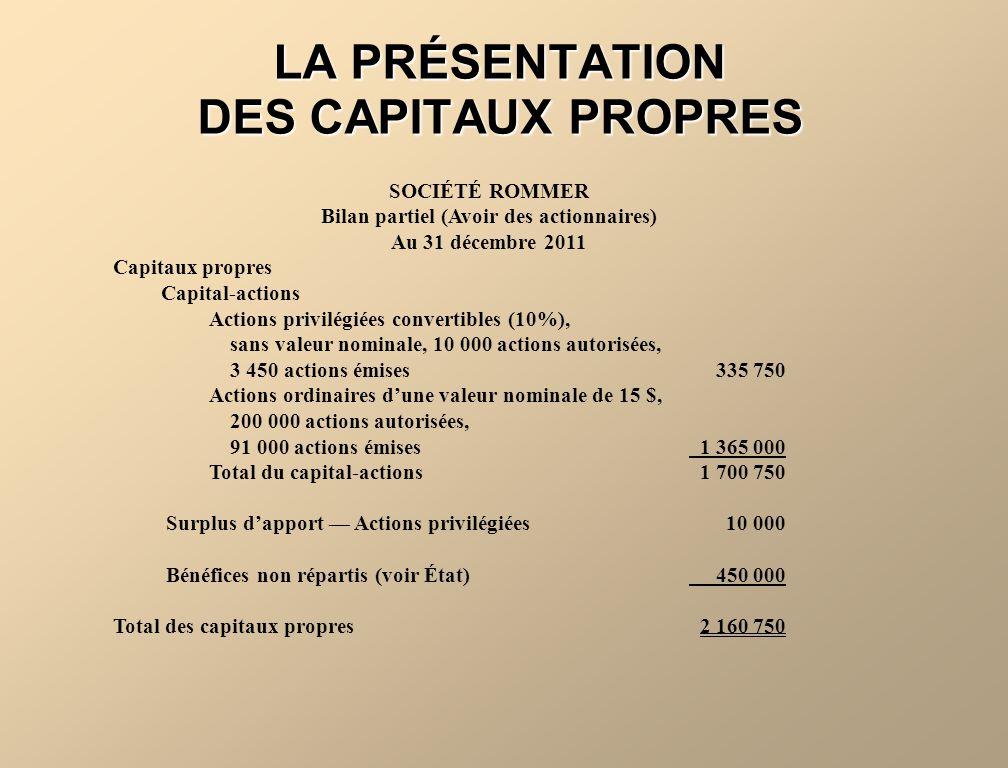 LA PRÉSENTATION DES CAPITAUX PROPRES