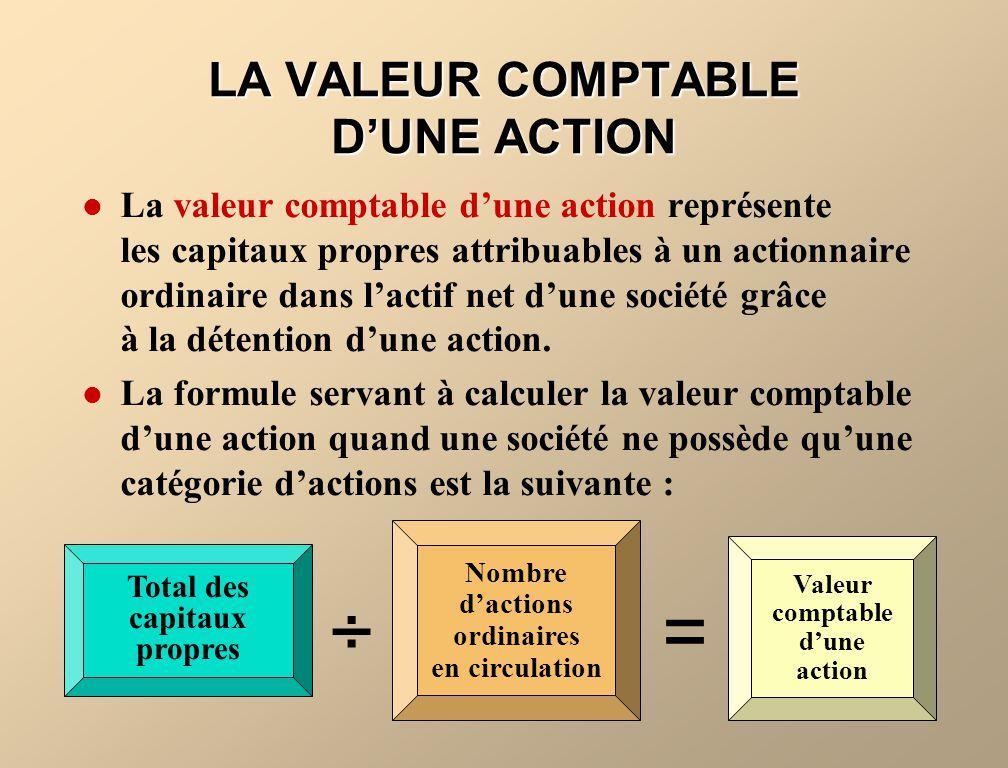LA VALEUR COMPTABLE D'UNE ACTION