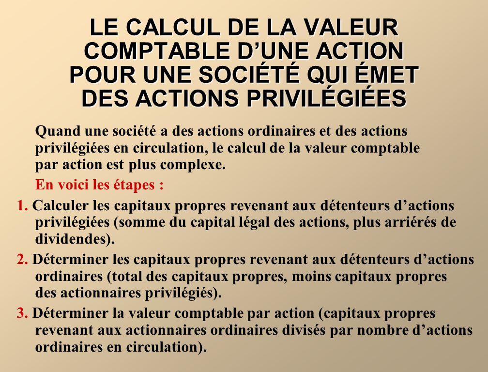 LE CALCUL DE LA VALEUR COMPTABLE D'UNE ACTION POUR UNE SOCIÉTÉ QUI ÉMET DES ACTIONS PRIVILÉGIÉES
