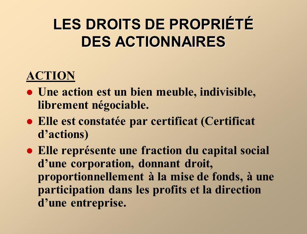 LES DROITS DE PROPRIÉTÉ DES ACTIONNAIRES