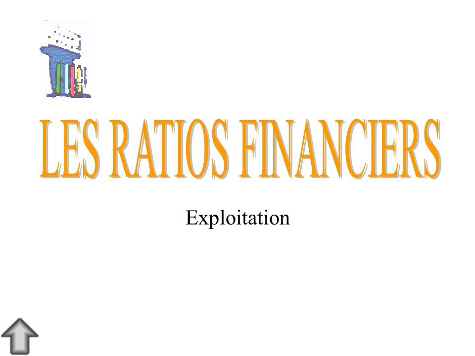 LES RATIOS FINANCIERS Exploitation