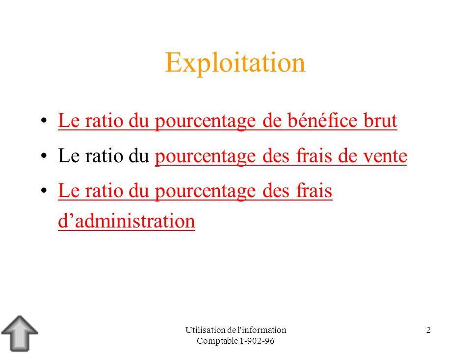 Utilisation de l information Comptable 1-902-96