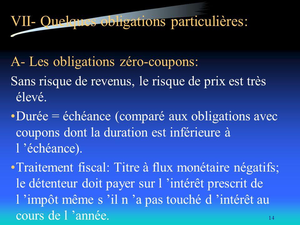 VII- Quelques obligations particulières: