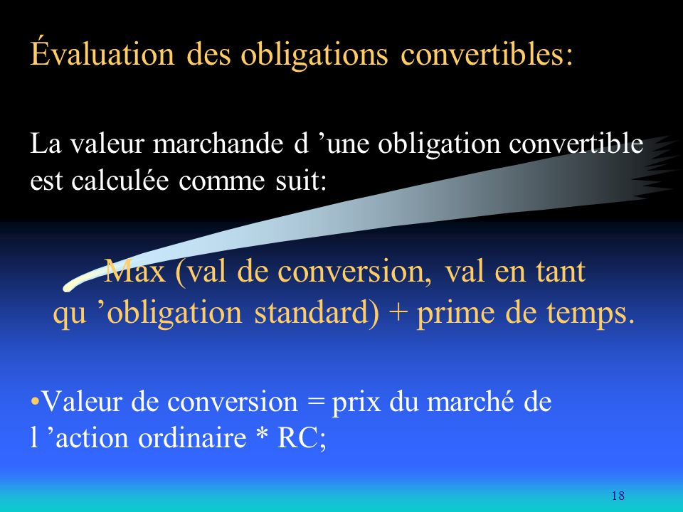 Évaluation des obligations convertibles: