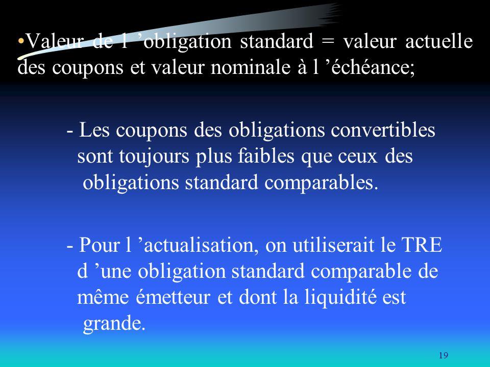 Valeur de l 'obligation standard = valeur actuelle des coupons et valeur nominale à l 'échéance;