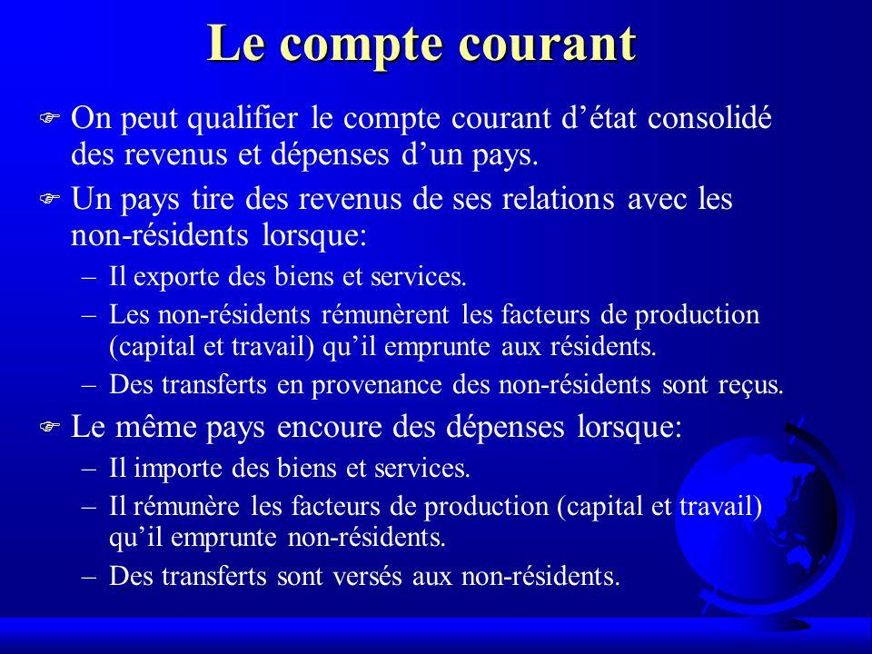 Le compte courant On peut qualifier le compte courant d'état consolidé des revenus et dépenses d'un pays.