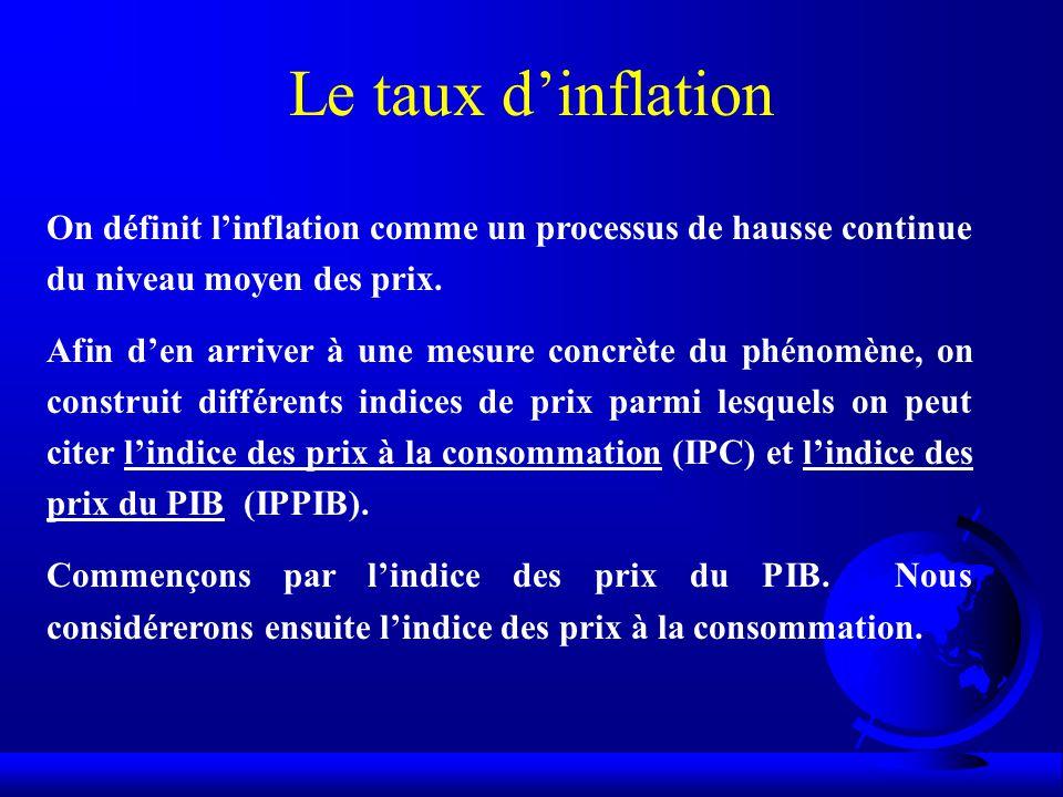 Le taux d'inflation On définit l'inflation comme un processus de hausse continue du niveau moyen des prix.