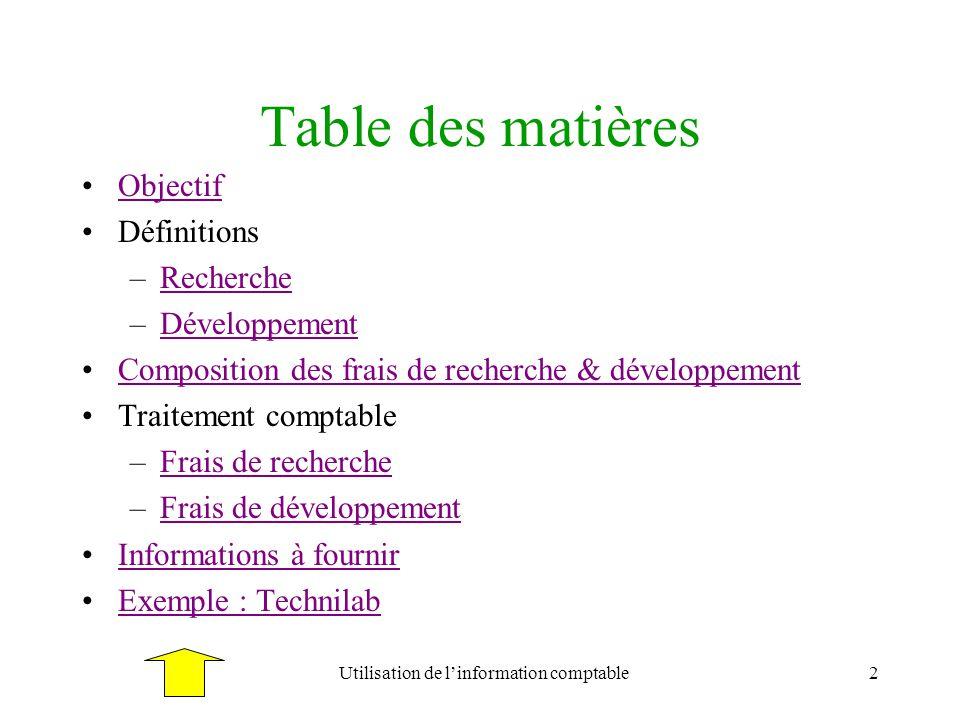 Utilisation de l'information comptable