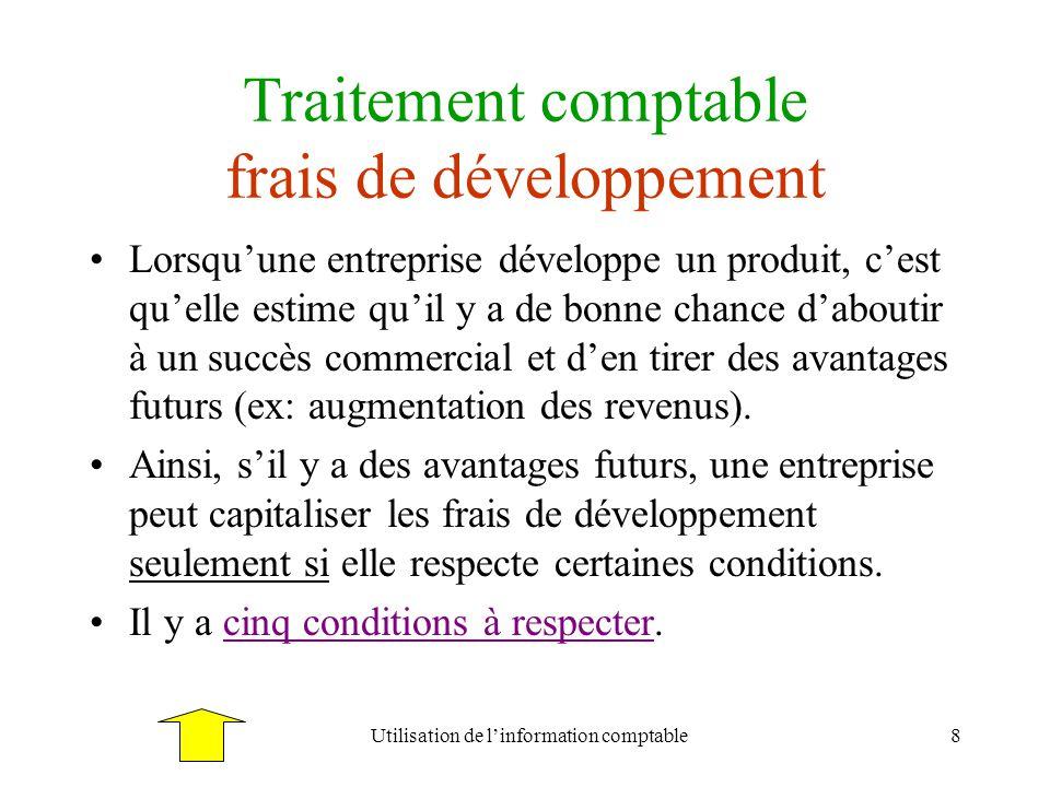 Traitement comptable frais de développement