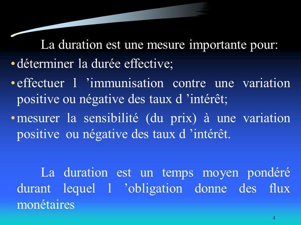La duration est une mesure importante pour:
