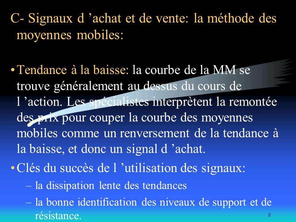 C- Signaux d 'achat et de vente: la méthode des moyennes mobiles: