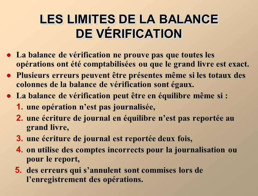 LES LIMITES DE LA BALANCE DE VÉRIFICATION