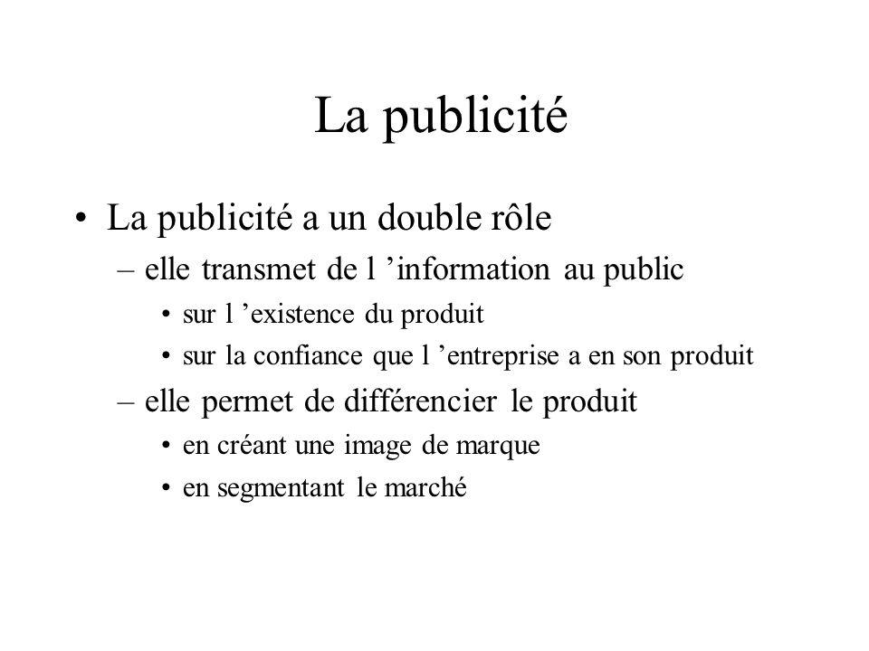 La publicité La publicité a un double rôle